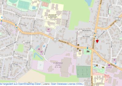 Anfahrtskarte aus OpenStreetmap erstellt., ODbL
