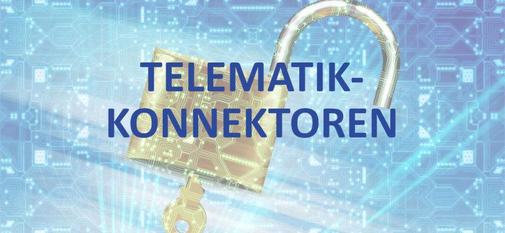 """Schriftzug """"Telematik-Konnektoren"""". im Hintergrund ein geöffnetes Vorhängeschloss"""