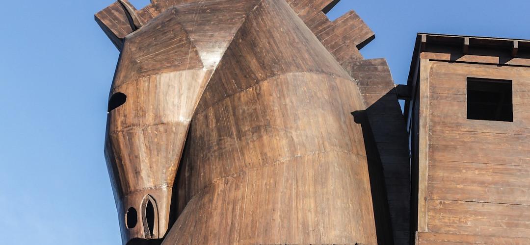 Foto von Kopf und Hals des Trojanischen Pferdes in Tevfikiye nahe Canakkale, Türkei
