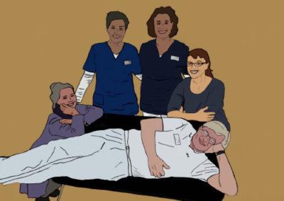 Ein gezeichnetes Bild vom Team des MVZ Pellworm