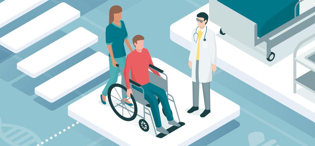 Mann im Rollstuhl, ein Arzt steht bei ihm