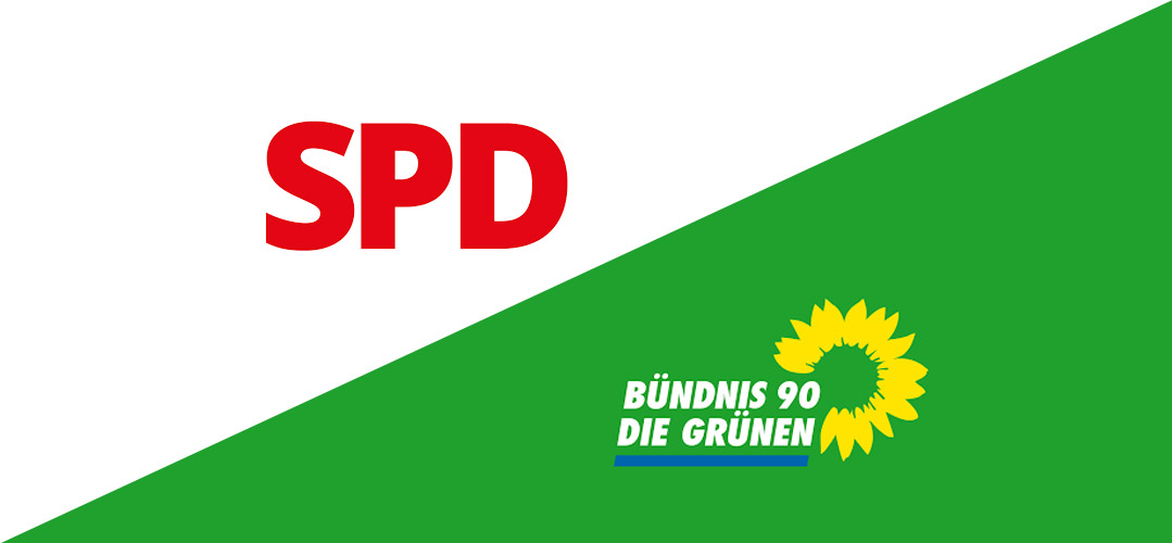 Logos von der SPD und den Grünen
