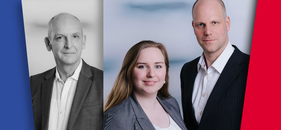 Der alte Geschäftsführer Thomas Rampoldt in grau und die neue Geschäftsführung bestehend aus Laura Lüth und Lars Prinzhorn