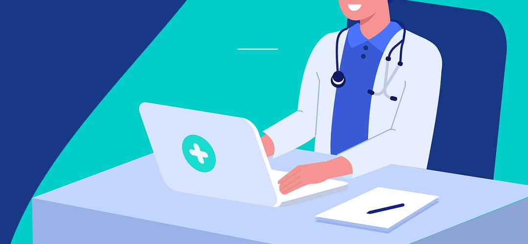 Illustration eines Arztes am Laptop